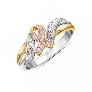 Breast Cancer Awareness Two Tone Crystal Ring